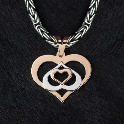 Оберег Любящие сердца из серебра и золота